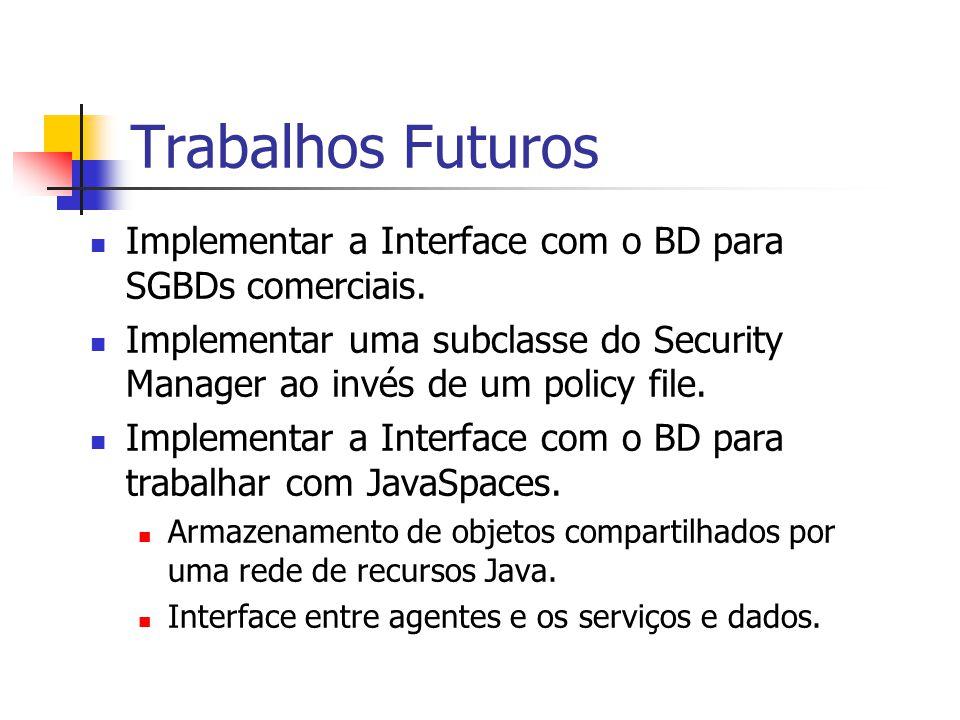 Trabalhos Futuros Implementar a Interface com o BD para SGBDs comerciais. Implementar uma subclasse do Security Manager ao invés de um policy file.