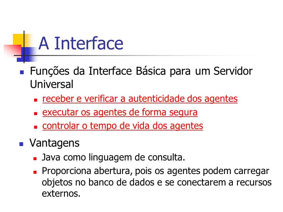 A Interface Funções da Interface Básica para um Servidor Universal