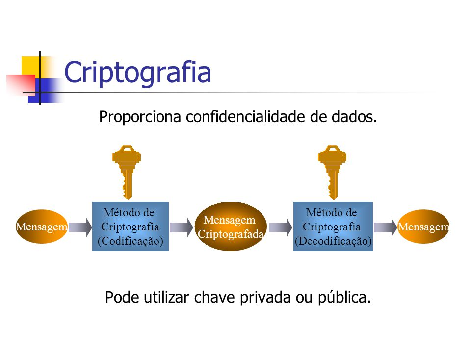 Criptografia Proporciona confidencialidade de dados.