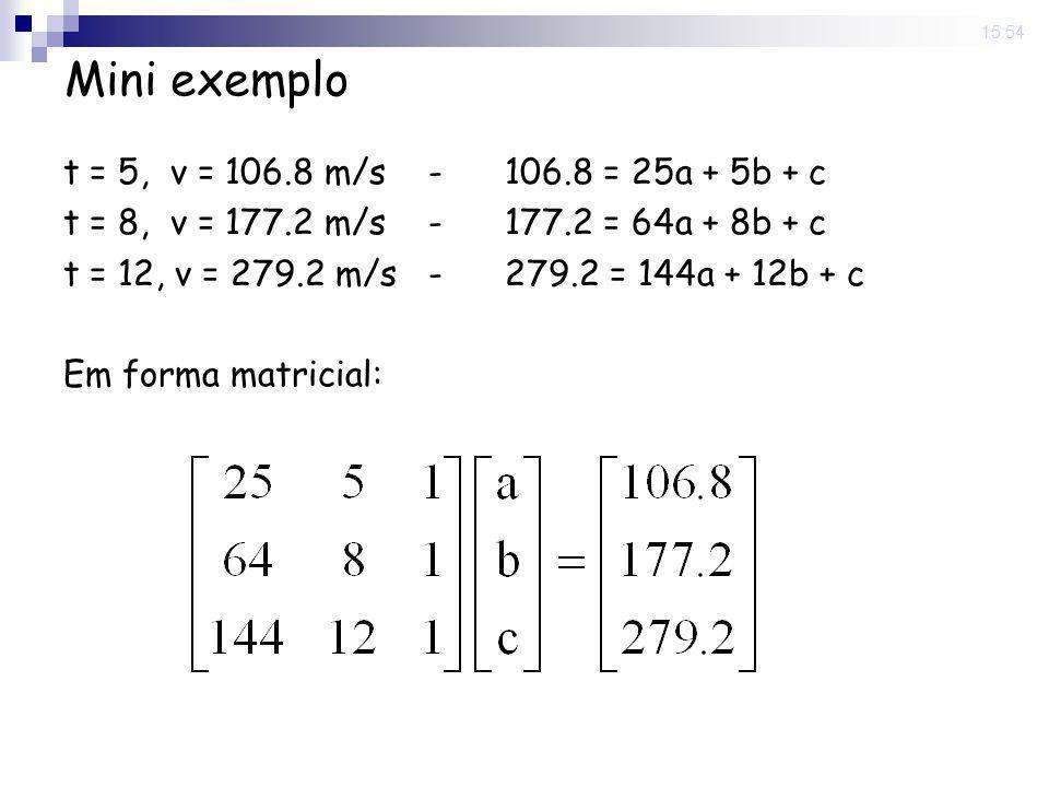 Mini exemplo t = 5, v = 106.8 m/s - 106.8 = 25a + 5b + c