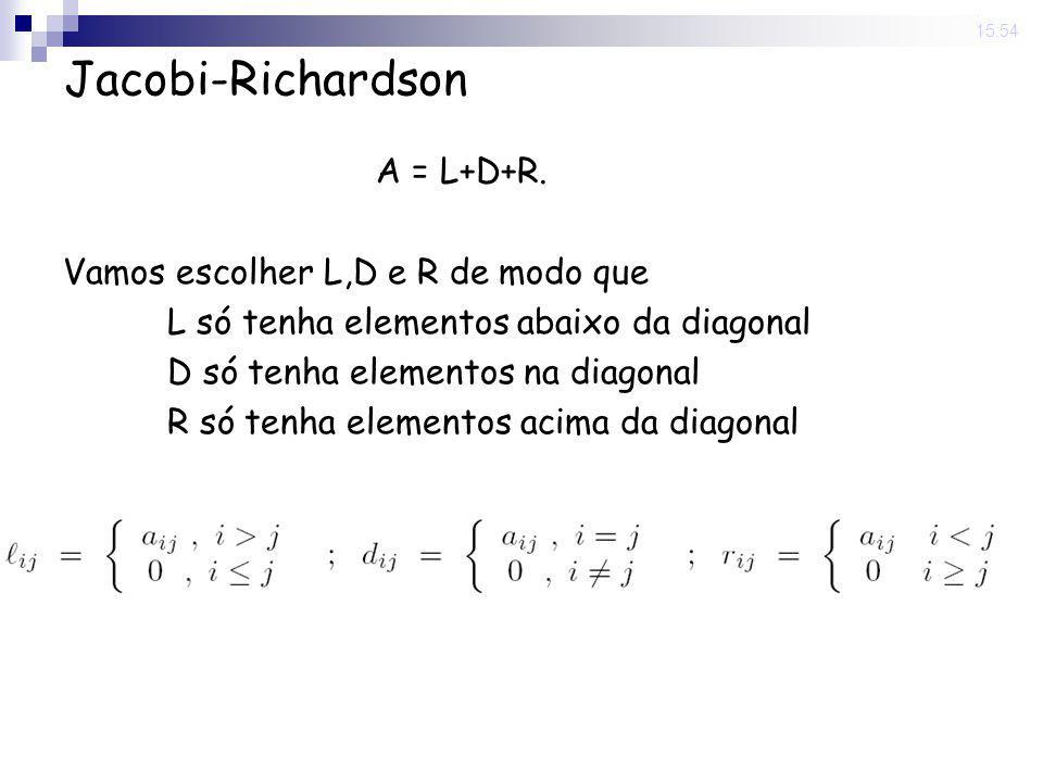 Jacobi-Richardson A = L+D+R. Vamos escolher L,D e R de modo que