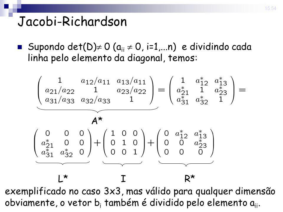 14 Nov 2008 . 15:54 Jacobi-Richardson. Supondo det(D) 0 (aii  0, i=1,...n) e dividindo cada linha pelo elemento da diagonal, temos: