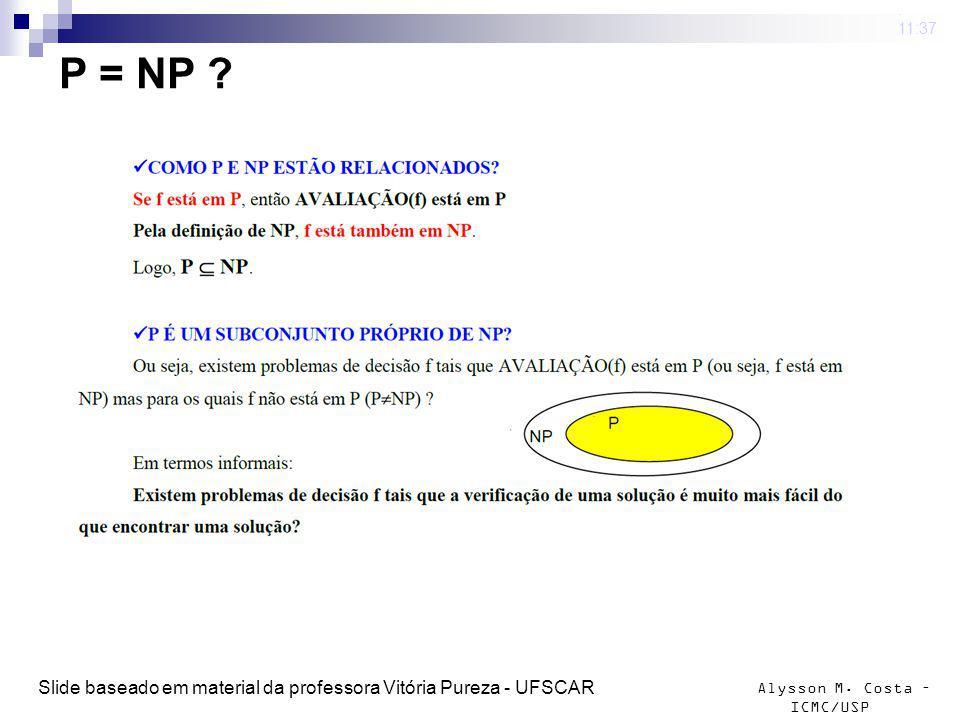 4 mar 2009 . 11:37 P = NP Slide baseado em material da professora Vitória Pureza - UFSCAR
