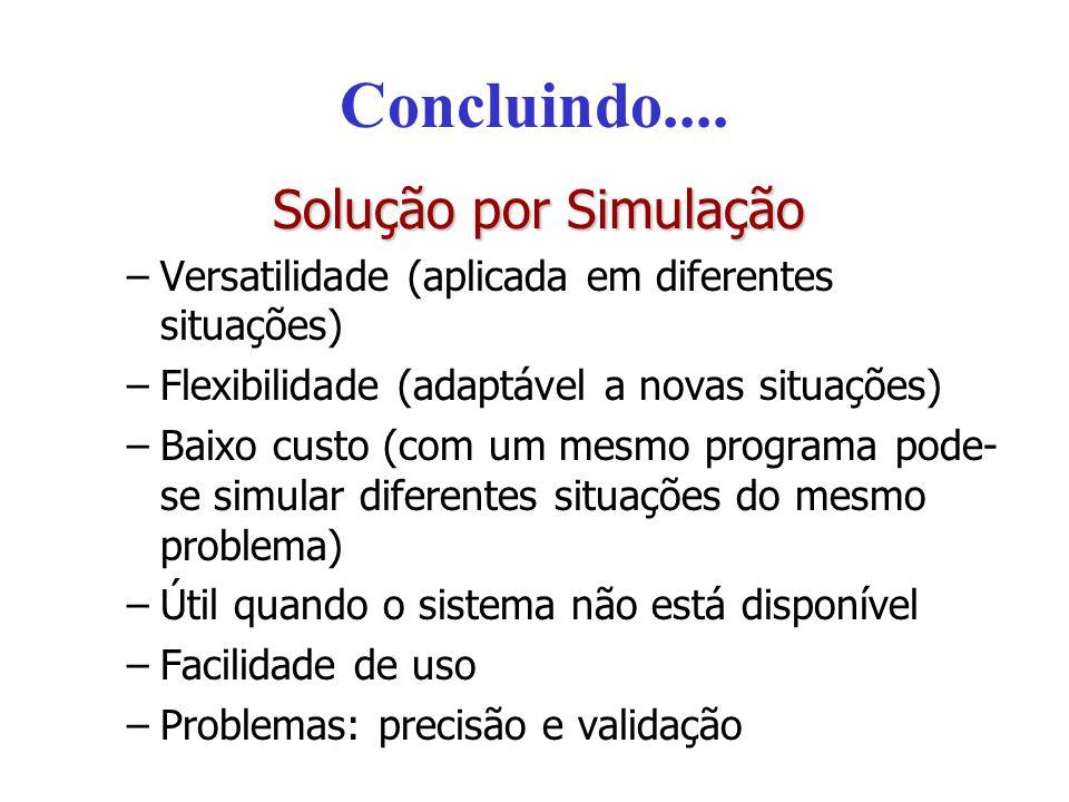 Concluindo.... Solução por Simulação