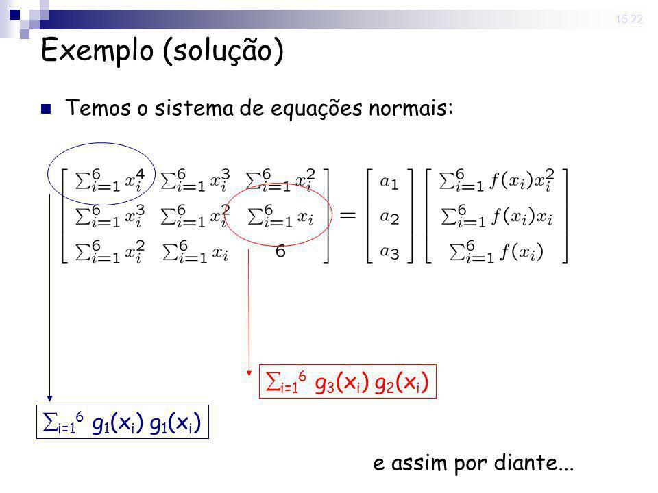 Exemplo (solução) Temos o sistema de equações normais: