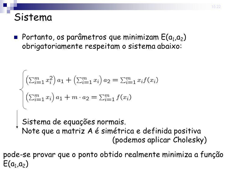12 Jun 2008 . 15:22 Sistema. Portanto, os parâmetros que minimizam E(a1,a2) obrigatoriamente respeitam o sistema abaixo: