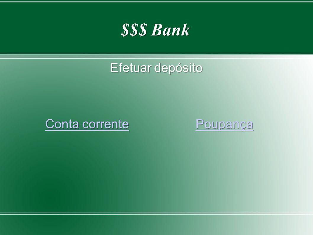 Efetuar depósito Conta corrente Poupança