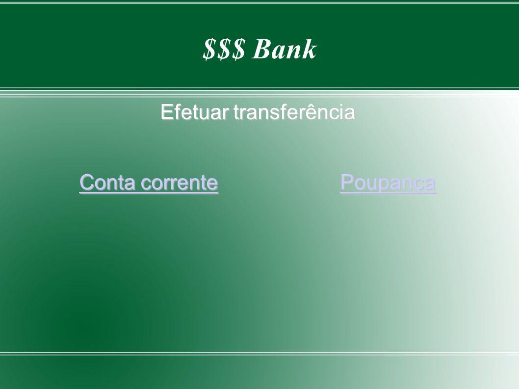 Efetuar transferência Conta corrente Poupança