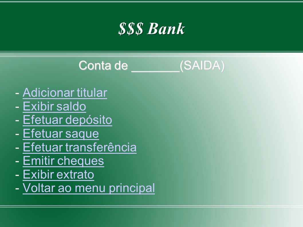 Conta de _______(SAIDA)