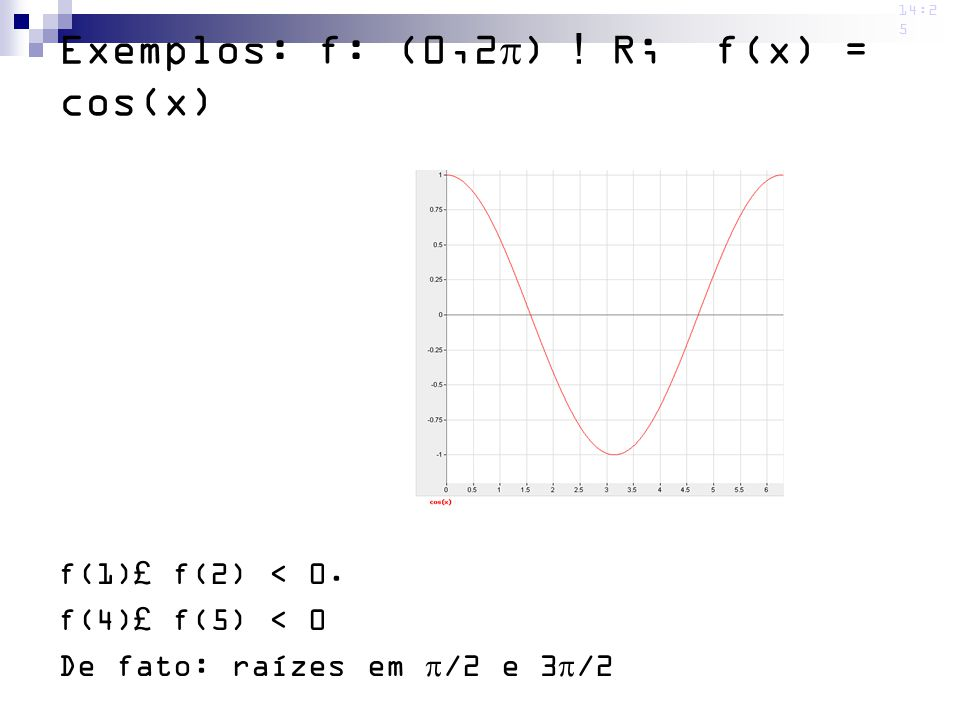 Exemplos: f: (0,2) ! R; f(x) = cos(x)