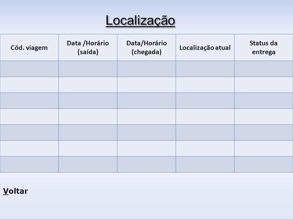 Localização Cód. viagem Data /Horário (saída) Data/Horário (chegada)