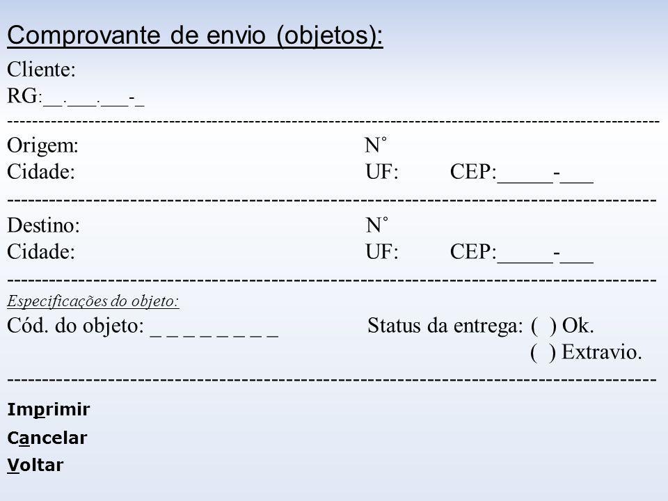 Comprovante de envio (objetos):