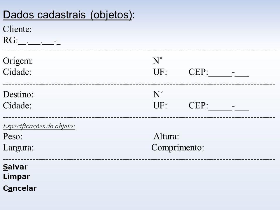Dados cadastrais (objetos):