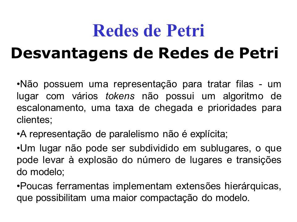 Redes de Petri Desvantagens de Redes de Petri