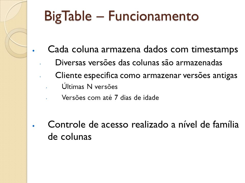 BigTable – Funcionamento