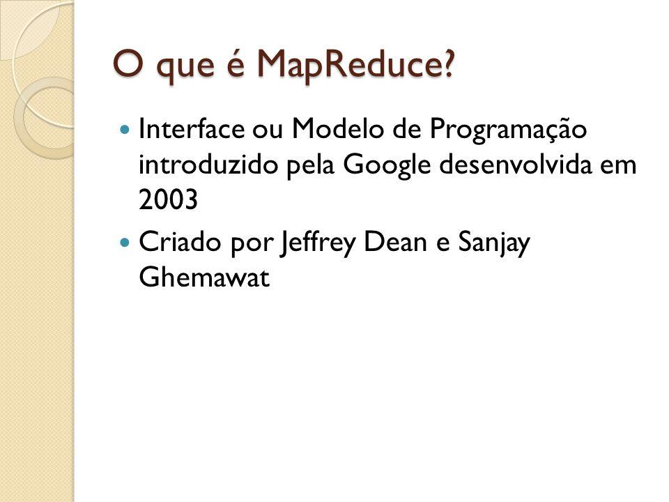 O que é MapReduce Interface ou Modelo de Programação introduzido pela Google desenvolvida em 2003.