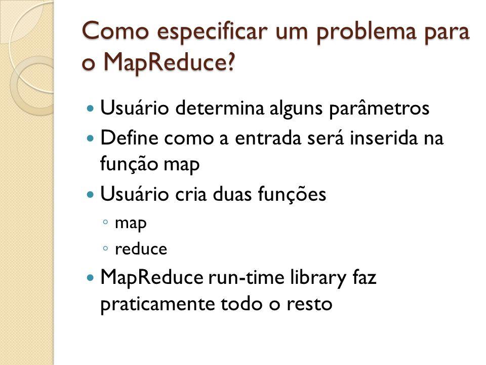 Como especificar um problema para o MapReduce