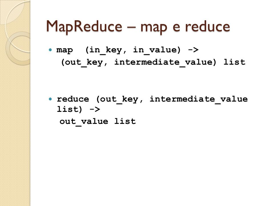 MapReduce – map e reduce