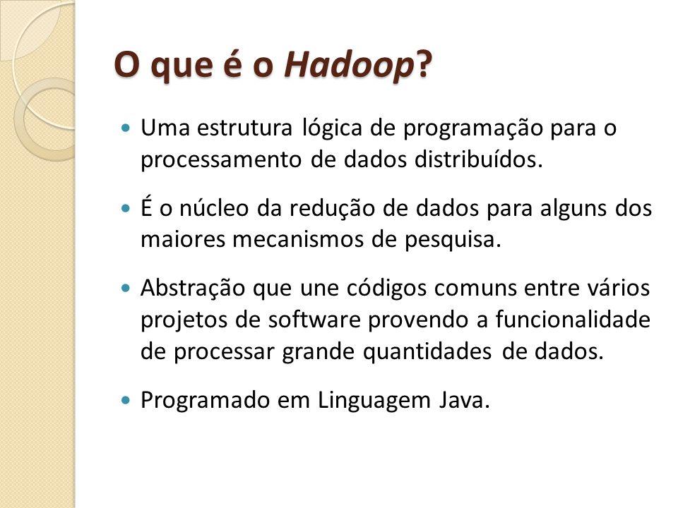 O que é o Hadoop Uma estrutura lógica de programação para o processamento de dados distribuídos.