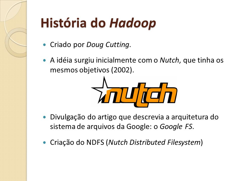 História do Hadoop Criado por Doug Cutting.