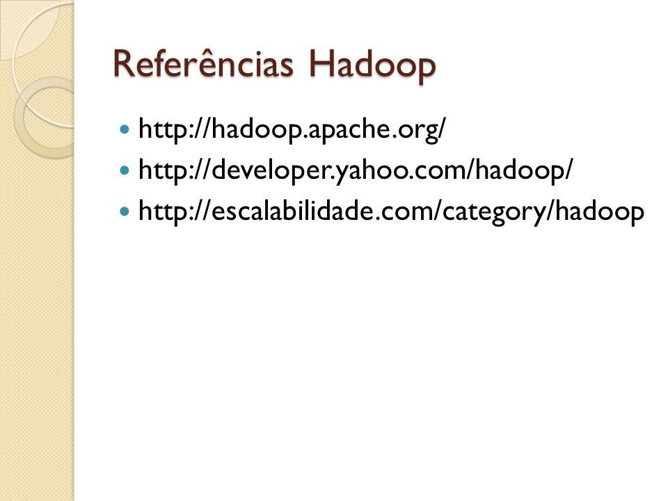 Referências Hadoop http://hadoop.apache.org/