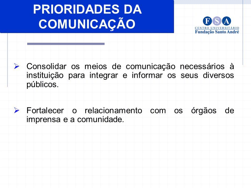 PRIORIDADES DA COMUNICAÇÃO