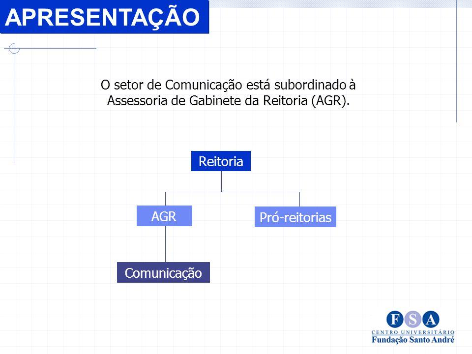 APRESENTAÇÃO O setor de Comunicação está subordinado à Assessoria de Gabinete da Reitoria (AGR). Reitoria.