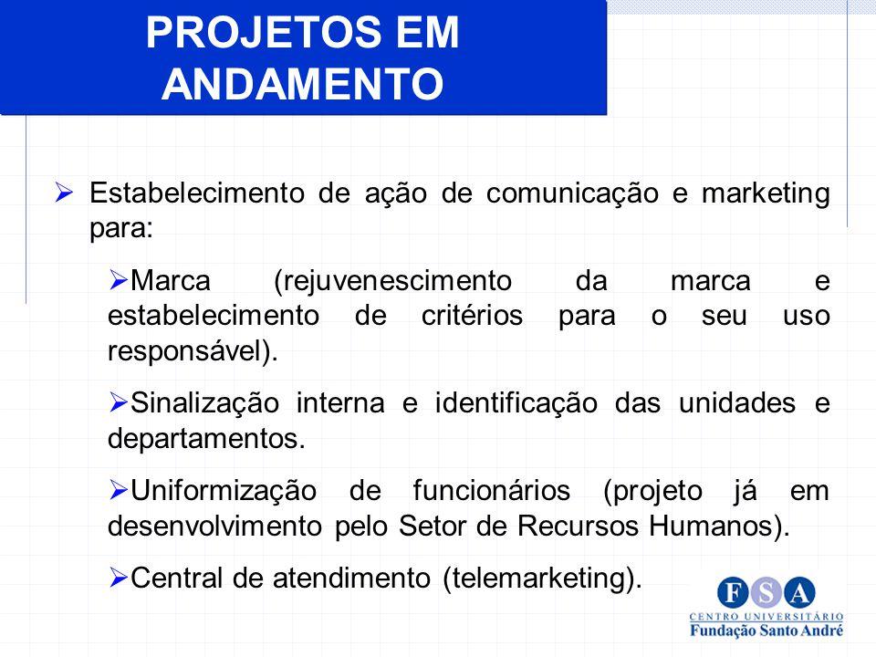PROJETOS EM ANDAMENTO Estabelecimento de ação de comunicação e marketing para: