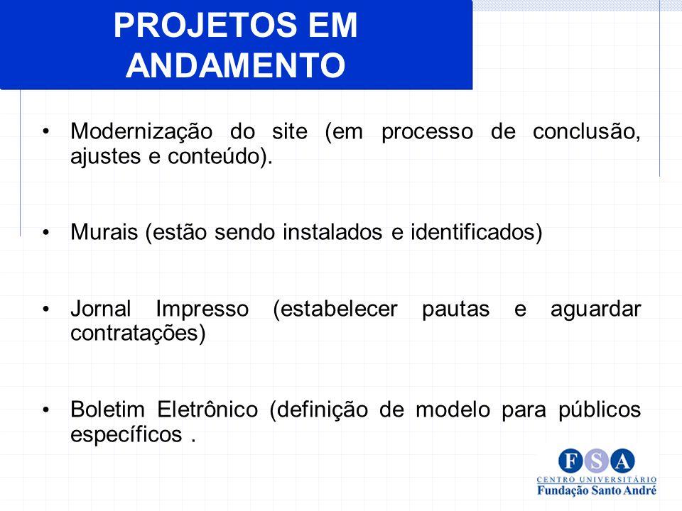 PROJETOS EM ANDAMENTO Modernização do site (em processo de conclusão, ajustes e conteúdo). Murais (estão sendo instalados e identificados)