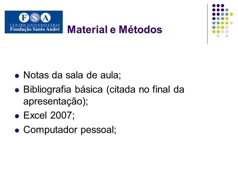 Material e Métodos Notas da sala de aula;
