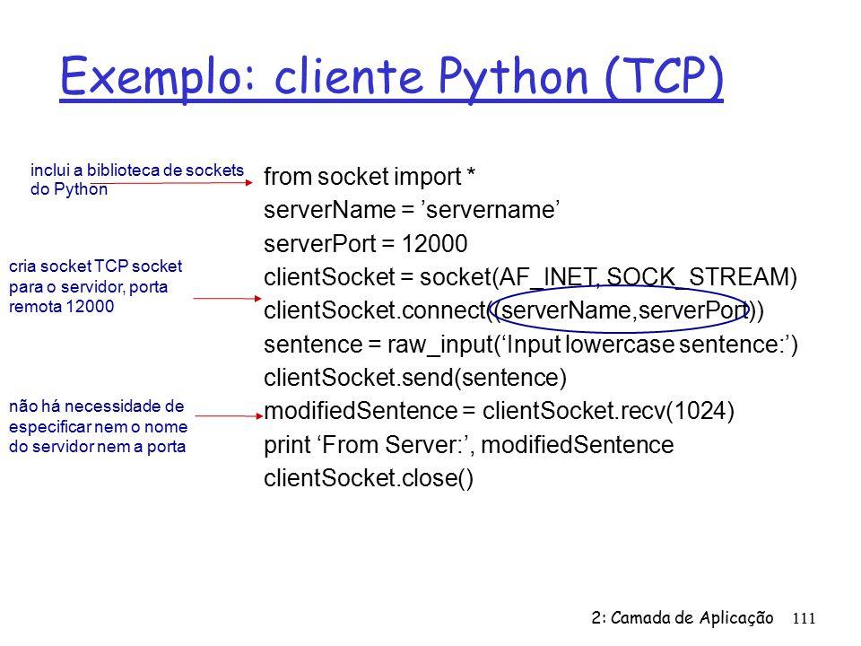 Exemplo: cliente Python (TCP)