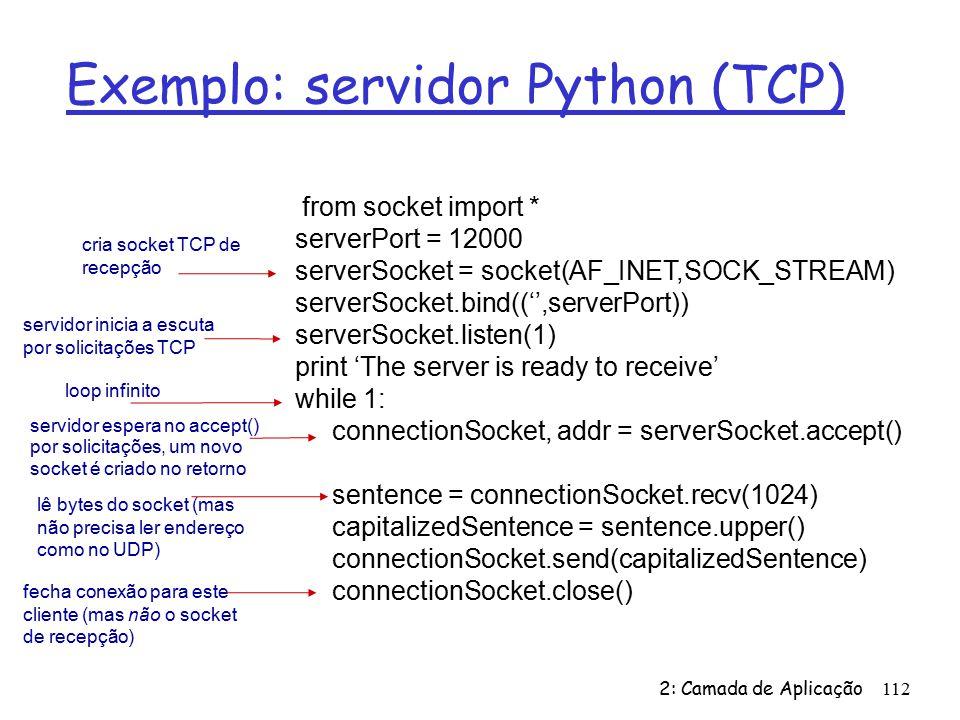 Exemplo: servidor Python (TCP)