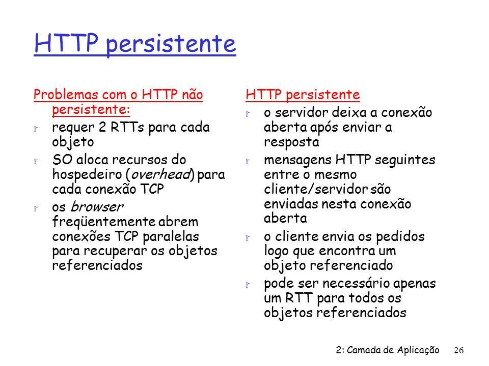 HTTP persistente Problemas com o HTTP não persistente: