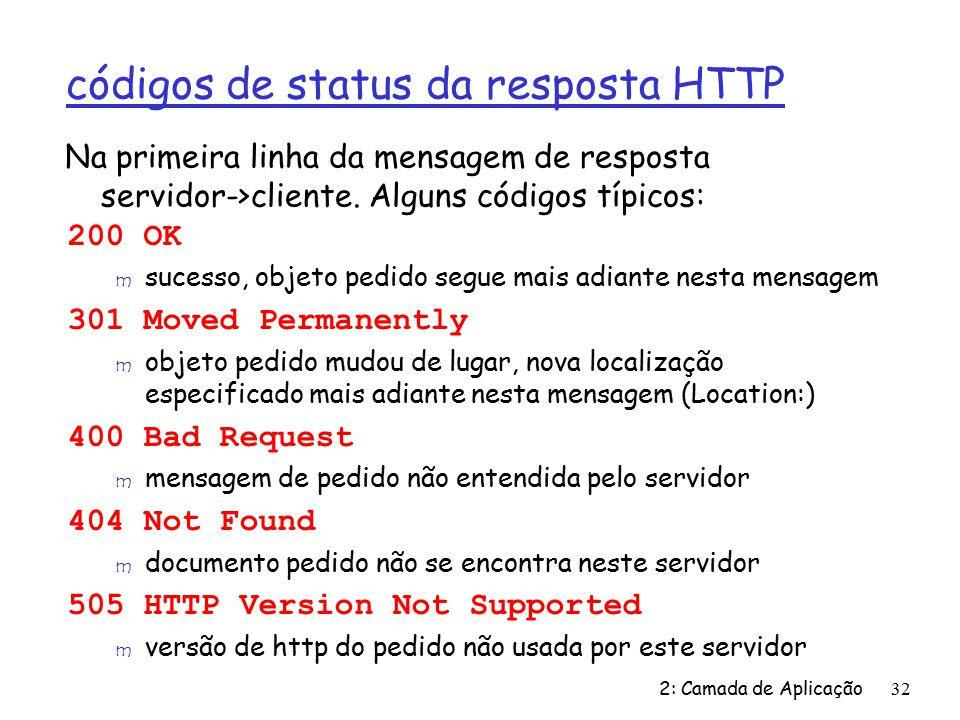 códigos de status da resposta HTTP