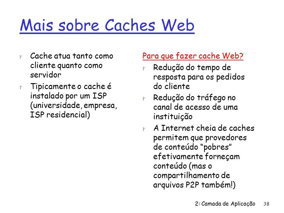 Mais sobre Caches Web Cache atua tanto como cliente quanto como servidor.
