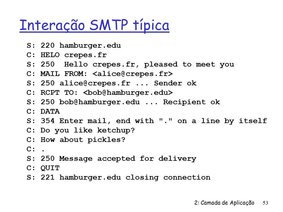Interação SMTP típica S: 220 hamburger.edu C: HELO crepes.fr