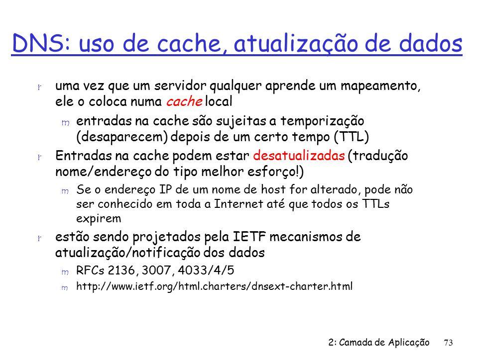 DNS: uso de cache, atualização de dados