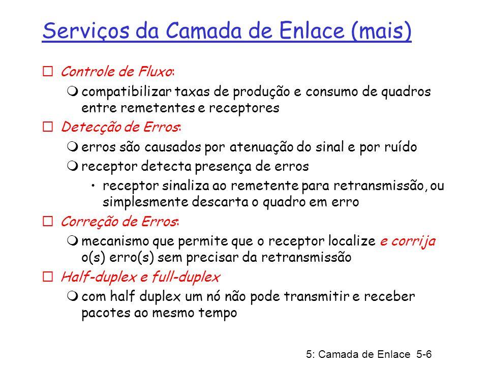 Serviços da Camada de Enlace (mais)