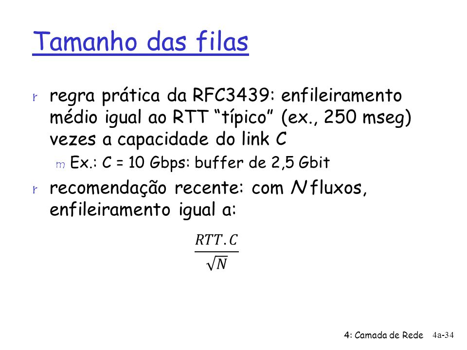Tamanho das filas regra prática da RFC3439: enfileiramento médio igual ao RTT típico (ex., 250 mseg) vezes a capacidade do link C.