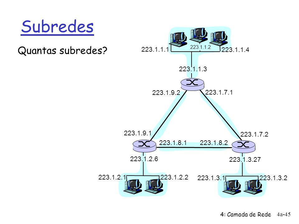 Subredes Quantas subredes 223.1.1.1 223.1.1.4 223.1.1.3 223.1.9.2