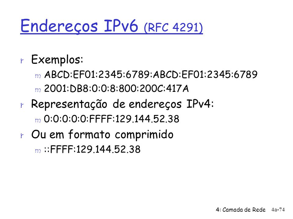 Endereços IPv6 (RFC 4291) Exemplos: Representação de endereços IPv4: