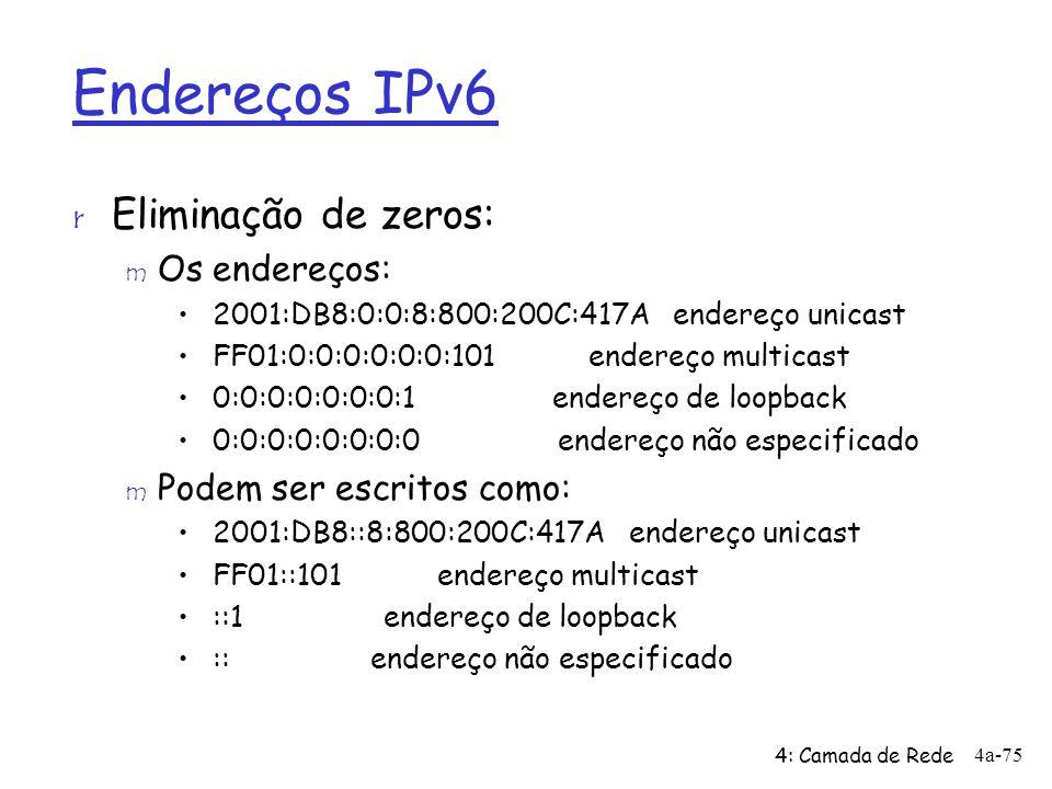 Endereços IPv6 Eliminação de zeros: Os endereços: