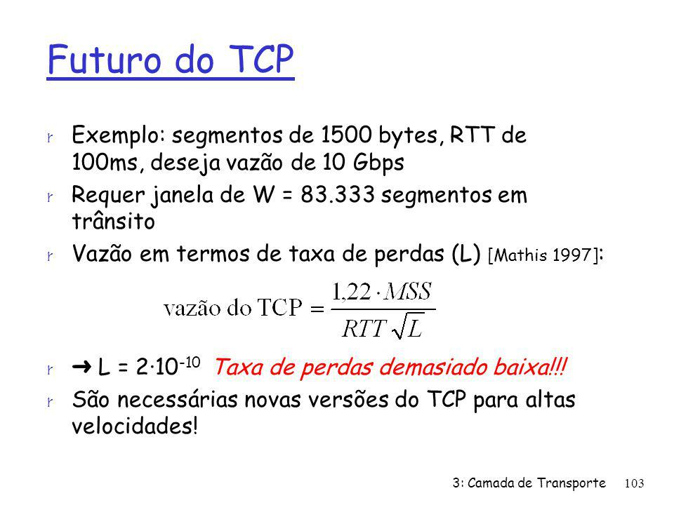 Futuro do TCP Exemplo: segmentos de 1500 bytes, RTT de 100ms, deseja vazão de 10 Gbps. Requer janela de W = 83.333 segmentos em trânsito.