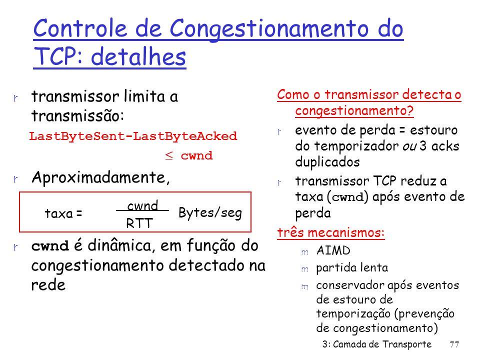 Controle de Congestionamento do TCP: detalhes