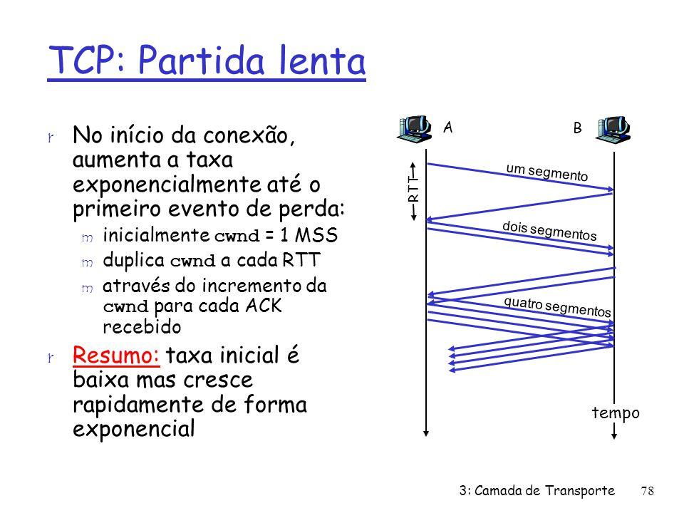 TCP: Partida lenta A. B. No início da conexão, aumenta a taxa exponencialmente até o primeiro evento de perda: