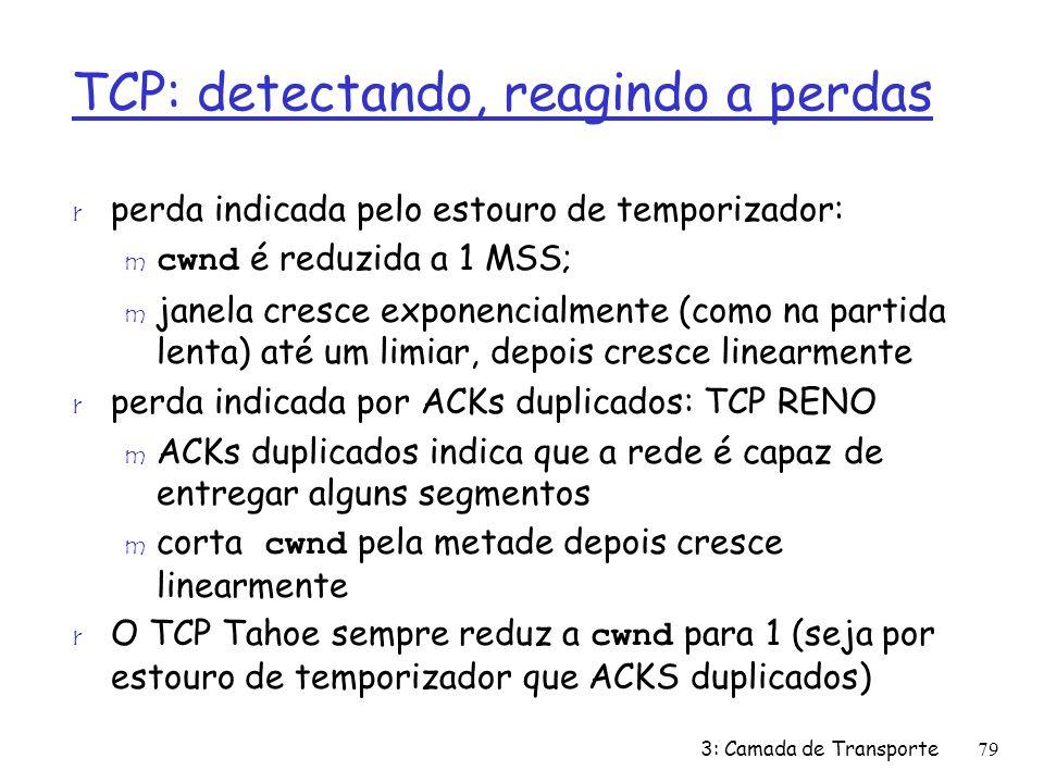 TCP: detectando, reagindo a perdas