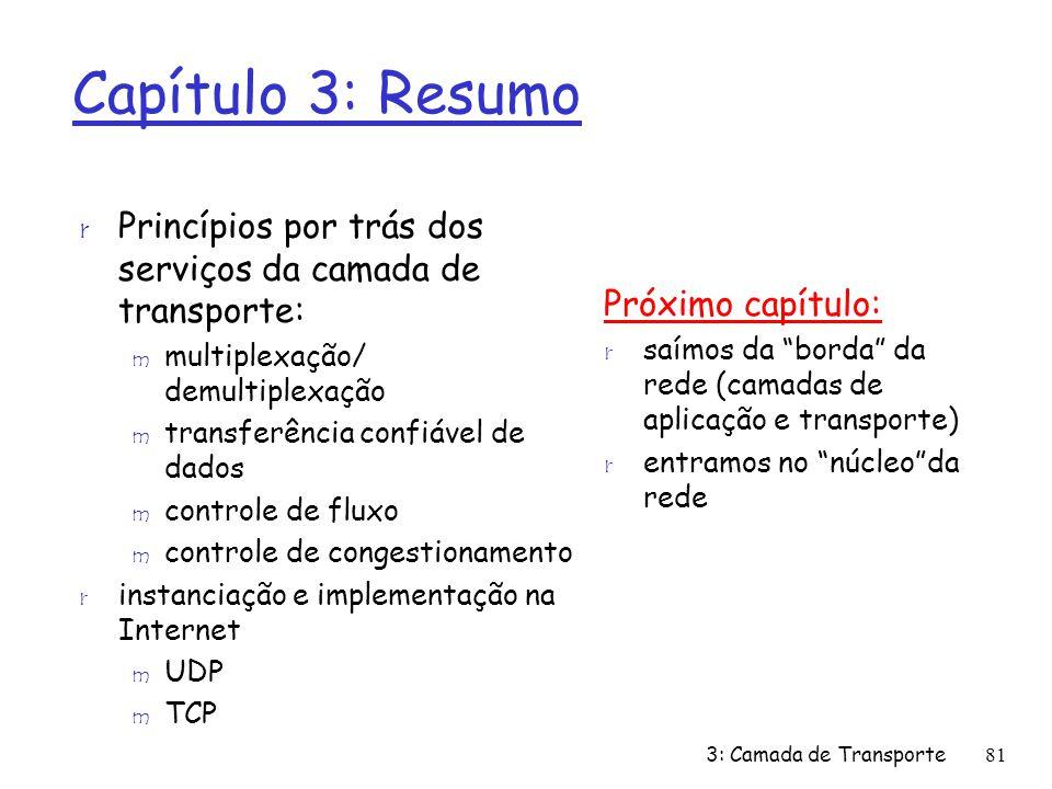 Capítulo 3: Resumo Princípios por trás dos serviços da camada de transporte: multiplexação/ demultiplexação.