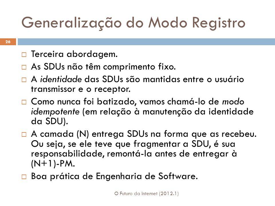 Generalização do Modo Registro