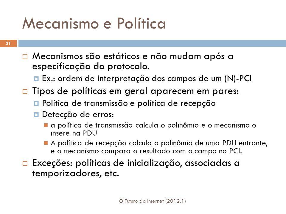 Mecanismo e Política Mecanismos são estáticos e não mudam após a especificação do protocolo. Ex.: ordem de interpretação dos campos de um (N)-PCI.