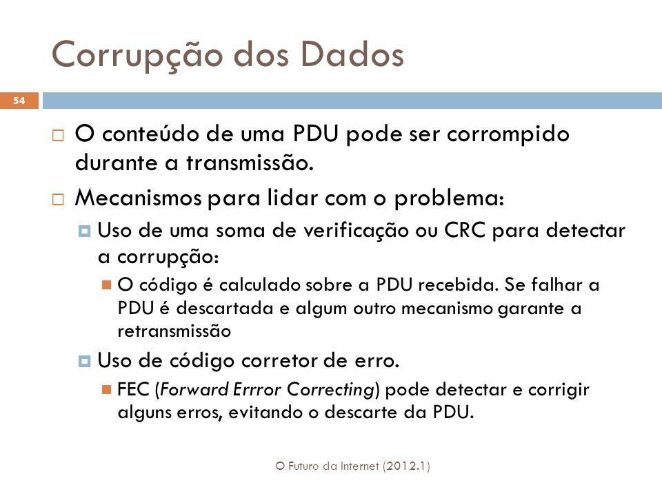 Corrupção dos Dados O conteúdo de uma PDU pode ser corrompido durante a transmissão. Mecanismos para lidar com o problema: